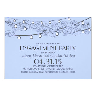 blue string lights & tree leaves engagement party 13 cm x 18 cm invitation card