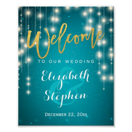 Blue String Lights Welcome Wedding Reception Sign
