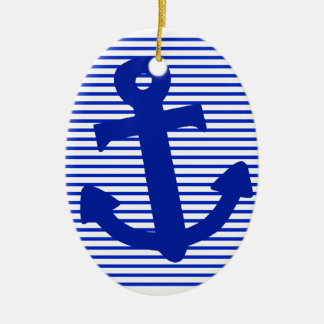 Blue Stripe Anchor Ceramic Oval Decoration