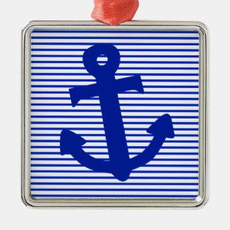 Blue Stripe Anchor Christmas Ornament