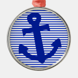 Blue Stripe Anchor Silver-Colored Round Decoration