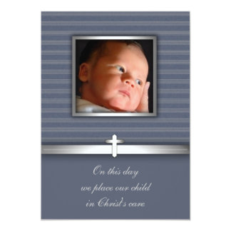 Blue Stripe Baby Boy Photo Christening Card