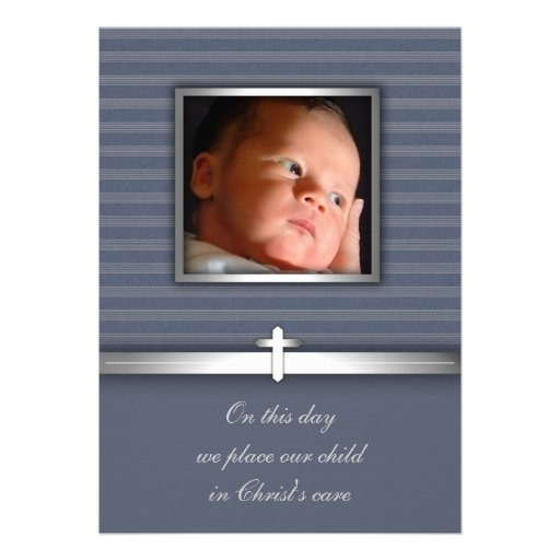 Blue Stripe Baby Boy Photo Christening Personalized Invitations