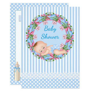 Blue Stripe Baby Shower Invitation with Sleeping