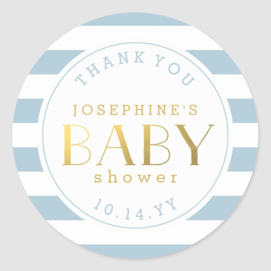 Blue Stripe Baby Shower Thank You Stickers