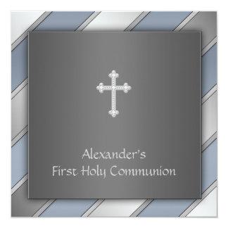 Blue Stripe Boys First Communion 13 Cm X 13 Cm Square Invitation Card