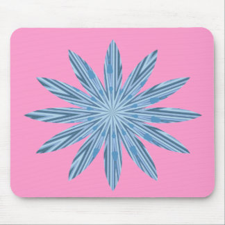 Blue stripe flower mouse pad