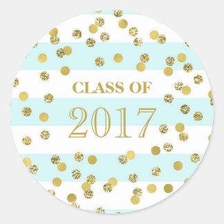 Blue Stripe Gold Confetti Graduation Class 2017 Round Sticker