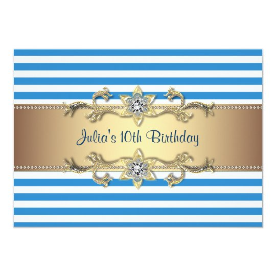 Blue Stripe Gold Flowers 10th Birthday Invitation