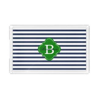 Blue Stripe Monogram Acrylic Tray