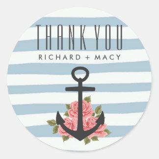Blue Stripe Nautical Wedding Thank You Stickers Round Sticker