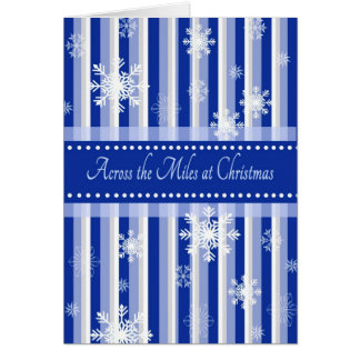 Blue Striped Across the Miles at Christmas Card