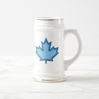 Blue Striped  Applique Stitched Maple Leaf Beer Steins