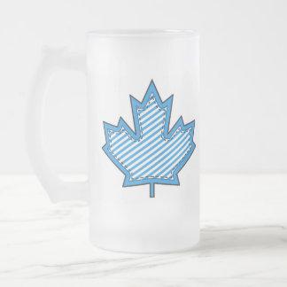 Blue Striped  Applique Stitched Maple Leaf Frosted Glass Mug