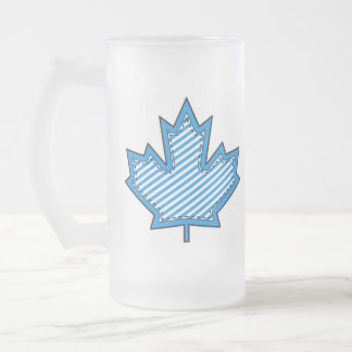 Blue Striped  Applique Stitched Maple Leaf Frosted Glass Mug