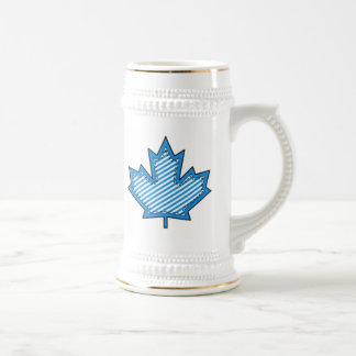 Blue Striped  Applique Stitched Maple Leaf Beer Steins