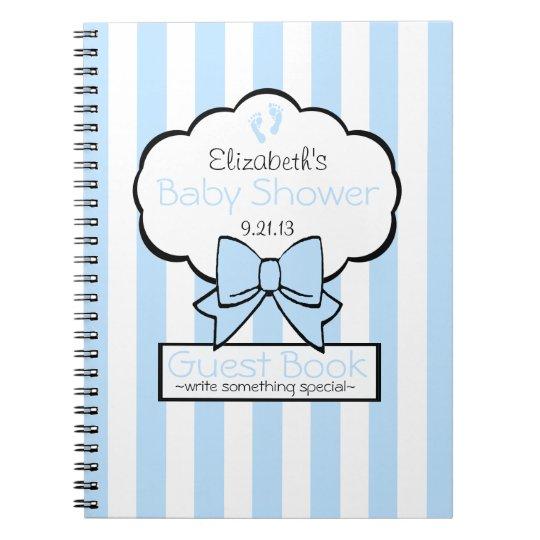 Blue Striped Baby Shower Guest Book- Spiral Notebook