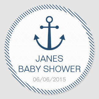 Blue striped baby shower stickers