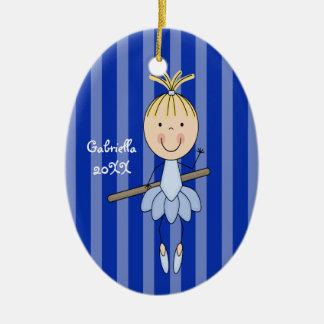 Blue Striped Ballerina Christmas Ornament