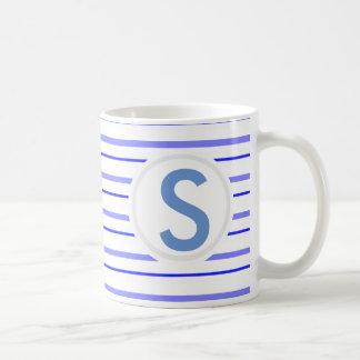 Blue Striped Basic White Mug