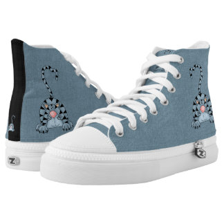 Blue Striped Cartoon Tabby Cat with Denim Look High Tops