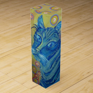blue striped cat wine box
