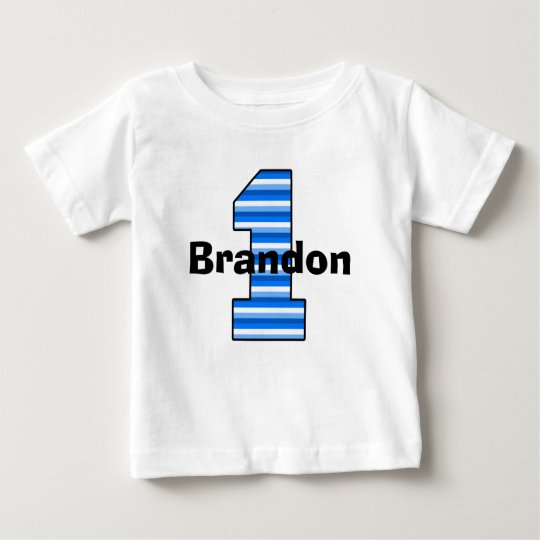 Blue Striped First Birthday Boy Shirt