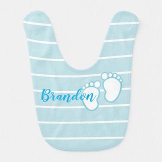 Blue Striped footprint Baby feet Personalized Name Bib