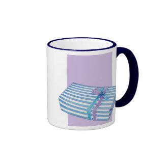Blue Striped Gift white lilac Ringer Mug