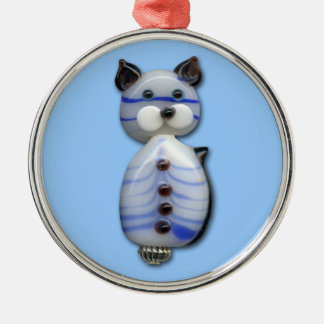 Blue-Striped Glass-Bead Cat Silver-Colored Round Decoration