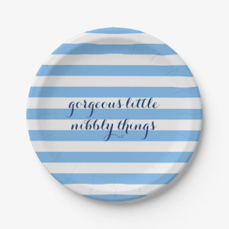 Blue Striped Gorgeous Little Nibbly Things Plate 7 Inch Paper Plate
