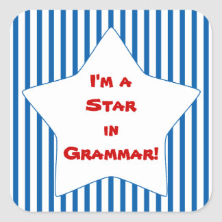 Blue Striped Grammar Student Star Square Sticker