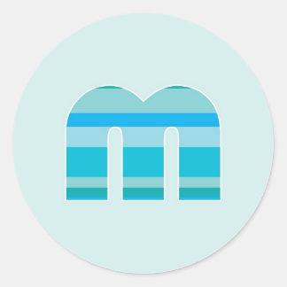 Blue Striped Monogram - Letter M Round Sticker