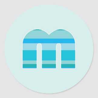 Blue Striped Monogram - Letter M Classic Round Sticker