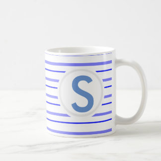 Blue Striped Classic White Coffee Mug