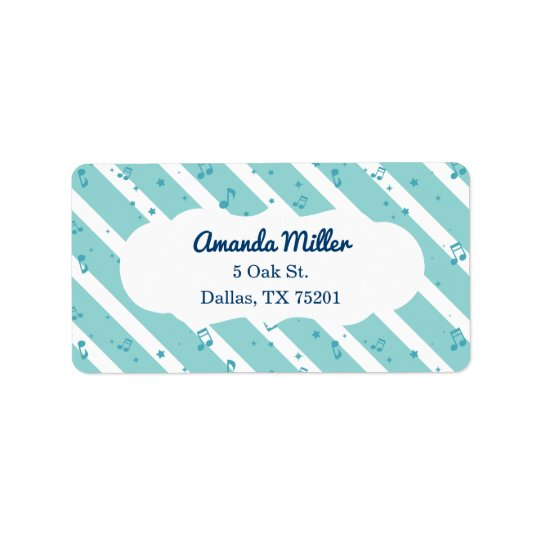 Blue Striped Music Notes Custom Address Labels