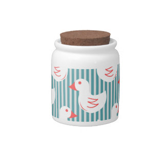 Blue Striped Pattern With White Ducks Candy Dish