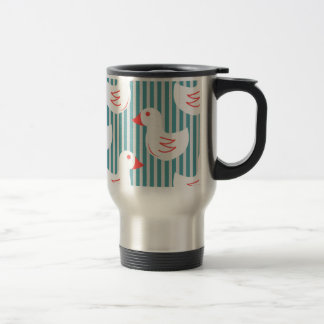 Blue Striped Pattern With White Ducks Coffee Mugs