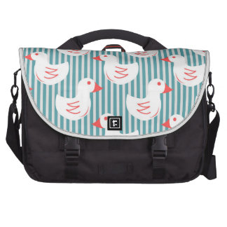 Blue Striped Pattern With White Ducks Computer Bag