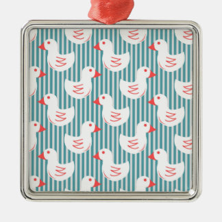 Blue Striped Pattern With White Ducks Ornaments