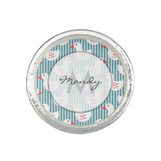 Blue Striped Pattern With White Ducks Photo Rings