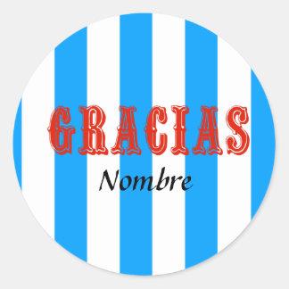 Blue striped round sticker