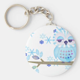 Blue Striped Winter Snow Owl Basic Round Button Key Ring