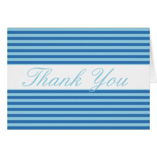 Blue Striped with Lite White Line Thank You Card