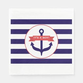 Blue Stripes + Anchor Boy Baby Shower Paper Napkin