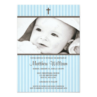 Blue Stripes and Brown Cross Boy Photo Baptism Card