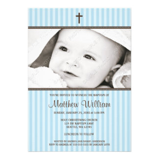 Blue Stripes and Brown Cross Boy Photo Baptism Personalized Invite
