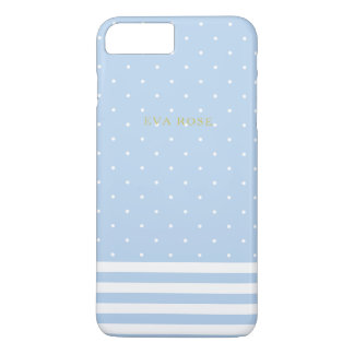 Blue Stripes and Polka Dots iPhone 7+ Case