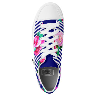 Blue stripes and roses shoes printed shoes