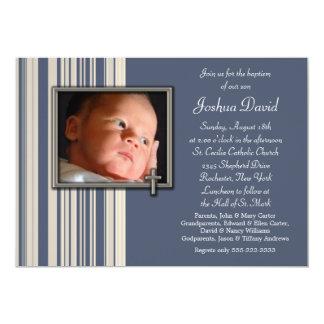 Blue Stripes Boy Photo Christening Invitations